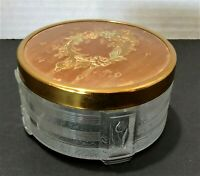 """Vintage Glass Trinket Box Jewelry Holder Gold Lid Etched Design On Glass 3.5"""" W"""