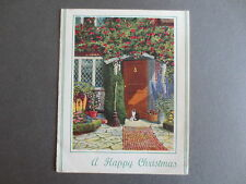 Vintage CHRISTMAS Card Cat Outside Cottage Door Garden 1940s A Vivian Mansell
