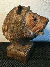 "Hand Carved Wood Bear Vintage Glass Eyes On Base 7.75"""