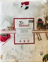 Pottery Barn Kids Heritage Santa Flannel Queen Sheet Set Christmas Holiday New