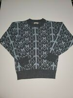 Vintage Le Tigre Acrylic Knit Sweater Blue and Grey Geometric Men's Small