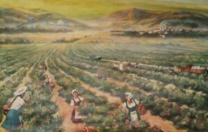 1962 Socialist Realism canvas print landscape roses valley poster print