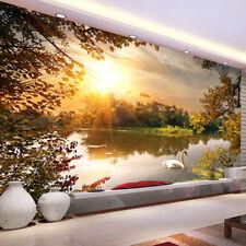 3D Sunset Swan in the Lake Sitting Room Bedroom Murals TV background Wallpaper