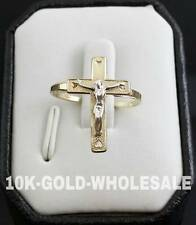 NEW 10KT YELLOW GOLD LORD JESUS CRUCIFIX CROSS RING