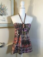 Live to be Spoiled Womens Jrs Size M Halter Top Tribal Beaded Flowers Festival