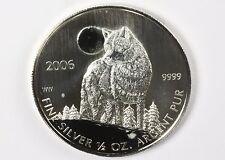 2006 Wolf Elizabeth II Canada $1 Dollar 999 Fine Silver 1/2 Oz High Polish
