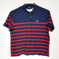 CHAPS Men's Rugby Golf Polo Shirt Blue Red Stripe Cotton Size 4XB EUC Very Nice