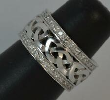 Heavy & Chunky 14ct White Gold & Diamond Celtic Band Ring d0181