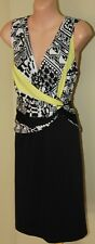 Womens Black, White and Yellow Dress BNWT - Max Minto - Size L