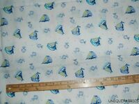 3.8Yds Fishes and Sailboats on White Background Cotton Fabric Nursery Print