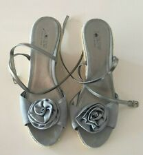 J. CREW grey satin strappy espadrilles/wedges - size 9, $199 EXCELLENT!