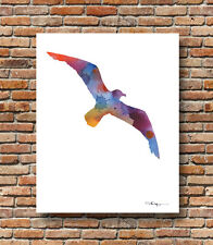 Seagull Abstract Watercolor Wildlife Painting 11 x 14 Art Print by DJR