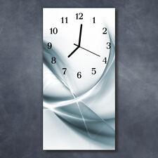 Glass Wall Clock Silent Kitchen Clocks 30x60 cm Abstract Silver