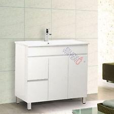 900x460x860mm Bathroom Vanity Cabinet Unit Freestanding Ceramic Basin White NEW