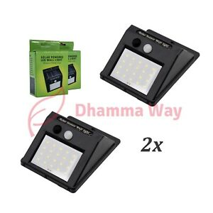 20 LED Solar Light With Security Motion Sensor, 2x Outdoor Lamp, Waterproof
