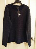 NWT Magaschoni Men's Wool Yak Sweater Crew Neck Sz. LG Black Grey MSRP: $298