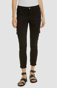 $501 Joie Jeans Women's Black Mid Rise Skinny Fit Leg Cargo Denim Pants Size 28