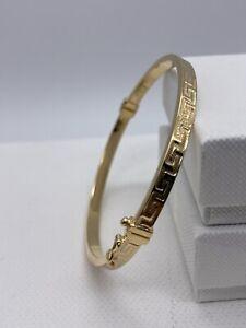 Solid Genuine 4mm 9ct Gold Woman Bracelet Bangle Greek Design 60mm Diameter