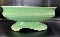 """Vintage Brush McCoy MCM Mint Green Oval Scroll Pedestal Planter  12"""" Wide"""