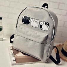 3 Cats Kawaii Cat Backpack Cartoon Rucksack School Gym Travel Bag Canvas Grey