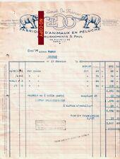 Beau Document du 17/02/1942 ZOO JOUET DE FRANCE peluches - Paris 75