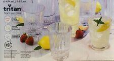 New Clear Set of 6 16oz Tritan Plastic Acrylic Tumblers Cups  Drinkware Glass
