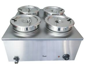 Davlex large bain marie 48 litre 4 round pots four lids electric wet food warmer