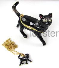 BLACK CAT FINE ENAMEL TRINKET BOX AUSTRIAN CRYSTALS includes pendant necklace