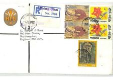 CF138 Malaysia Cover FLOWERS 1982 *Kelang Utara* Registered Air Mail PANGOLIN