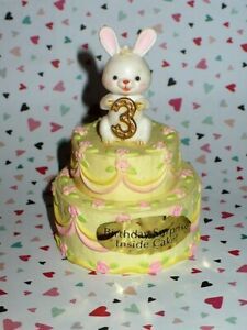 VTG ENESCO BUNNY ON TOP OF B-DAY #3 CAKE TRINKET BOX WITH SURPRISE INSIDE H.K.