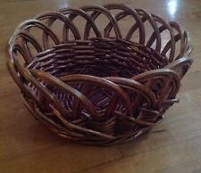 Pier1 Wicker Wooden Handled Bread Serving Basket~Cord Wrapped -Fruit Basket 11X6