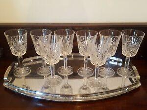 8 Vintage Cristal D'arques Villemont Wine Glasses Diamond and Fan Cut 200mls