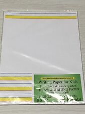 Writing Paper for Kids -  Draw and Writing Paper - Yellow Highlighted With Name