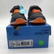 Stride Rite Boys' M2P Breccen Sneaker, Navy/Orange, 4 XW US Toddler