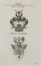 1847 Wappen Adelige von Jenisch von Imhof Kupferstich von Tyroff Coat of Arms
