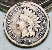 1860 Indian Head Cent Penny 1C CN DIE CRACK Civil War Era Early US Coin CC6755
