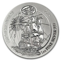 Rwanda 50 Francs, 2018 new,Nautical Ounce - HMS Endeavour, 1oz SILVER Coin, UNC