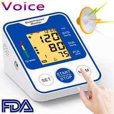 Portable Digital Arm Blood Pressure Monitor Automatic Voice BP Cuff Pulse Tester