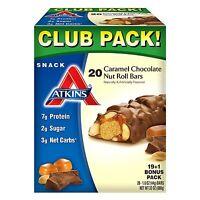 Atkins Snack Caramel Chocolate Nut Roll Pack (19 + 1 Bonus Bar)