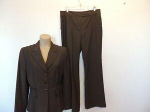 Tahari brown size 12 jacket & 14 wool/ blend  pants suit nice