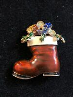 Vintage Christmas Stocking With Gifts & Holly Enameled Brooch Unsigned ~1.5""