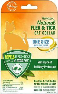 Tropiclean Cat Flea & Tick Repellent Collar 4 month waterproof breakaway