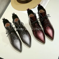 TOP Lederstiefel Damen Ankle Boots Spitz Zehe Schick Stiefeletten Schnürschuhe