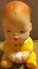 Vintage Squeaky Yellow Rubber Baby Boy Doll 5� Tall Sitting W/Ball