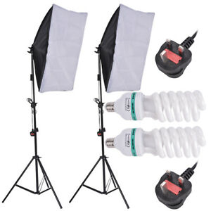 2 x 135W Photography Studio Continuous Lighting Softbox Soft Box Light Stand Kit