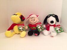 Christmas Peanut Gang Musical Plush Charlie Brown, Snoopy, Woodstock (set of 3)