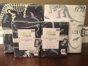 Pottery Barn Kids Dino Bones Dinosaur Flannel FULL Sheet Set Duvet Cover Shams