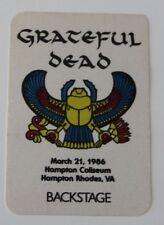 Grateful Dead Backstage Pass 3-21-86 Hampton Coliseum Rick Griffin Artwork