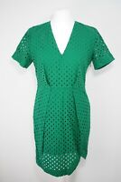 & And Other Stories Green Broderie Anglaise Dress Size EU 40 UK 14 V Neck BNWT