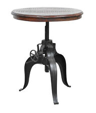 Small Accent Tables Round Crank Table Pedestal Wood Adjustable Antique Looking